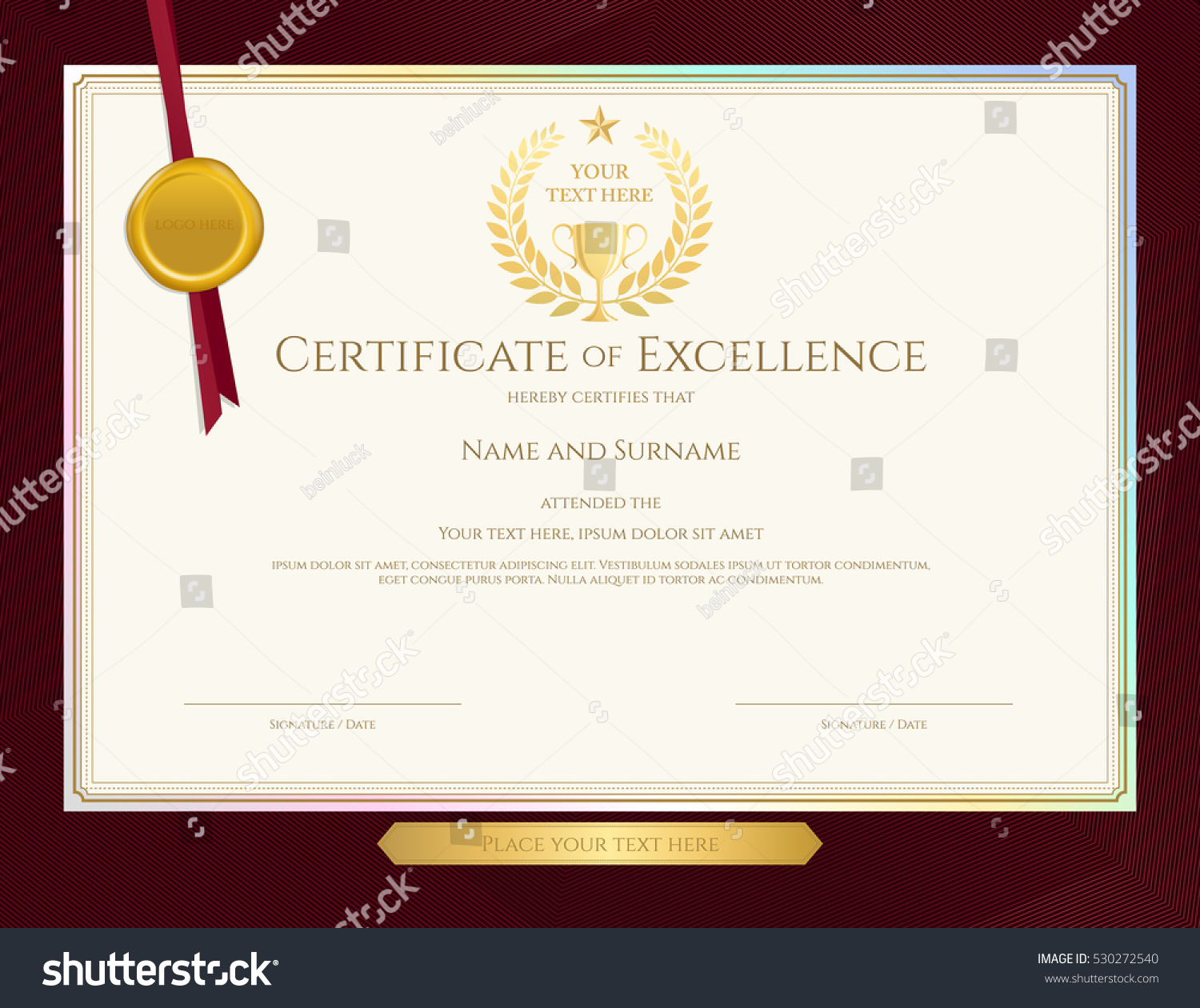 Elegant certificate template excellence achievement appreciation elegant certificate template for excellence achievement appreciation or completion on red border background xflitez Image collections