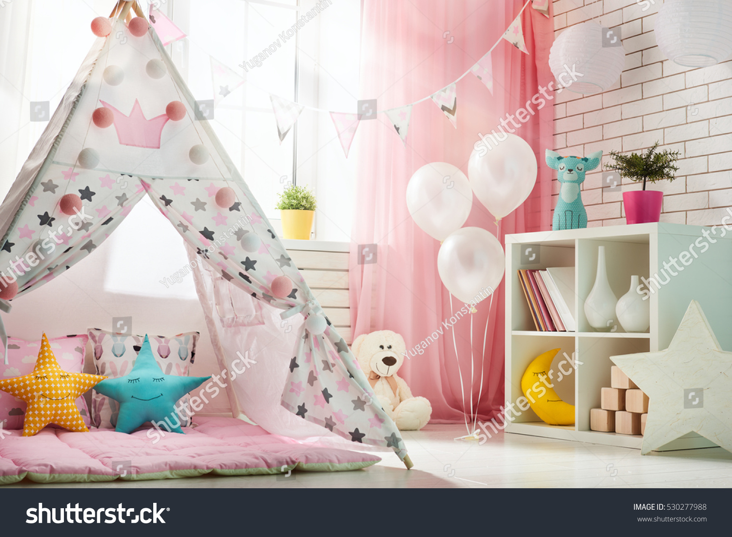 Spacious children room with play tent for girl. & Spacious Children Room Play Tent Girl Stock Photo 530277988 ...