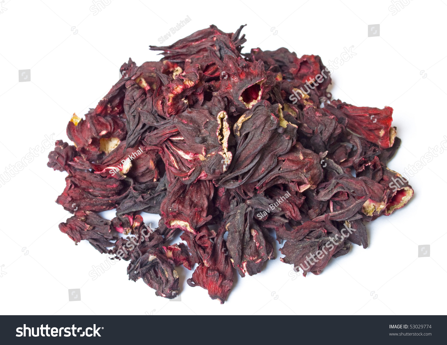 Pile dried hibiscus tea flowers isolated stock photo 53029774 pile of dried hibiscus tea flowers isolated on white top view izmirmasajfo Images