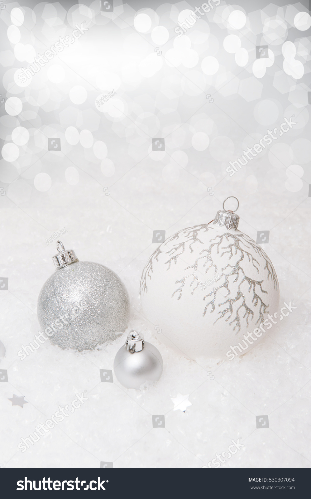 white new year background with christmas balls on an artificial snow with highlights ez canvas