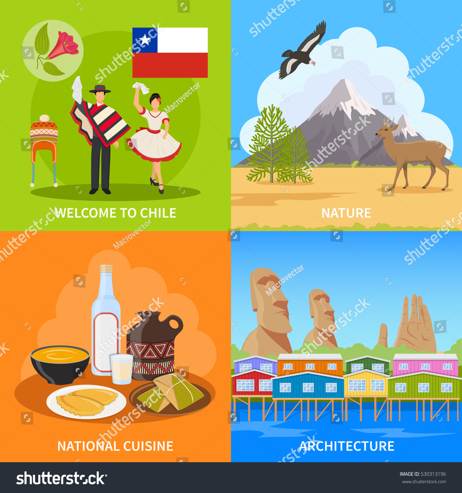 Chile 2x2 design concept set nature stock vector 530313196 chile 2x2 design concept set of nature architecture national cuisine and costume flat compositions vector illustration biocorpaavc Images