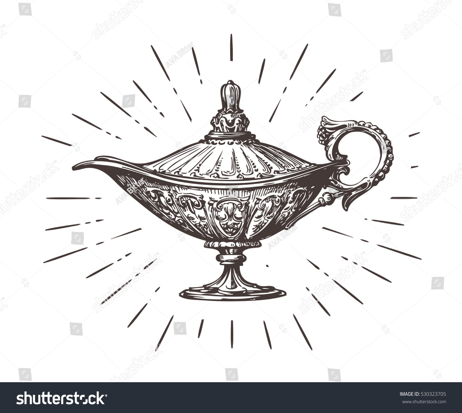 Aladdin Magic Genie Lamp Vintage Sketch Stock Vector 530323705 ... for Aladdin Genie Lamp Drawing  146hul