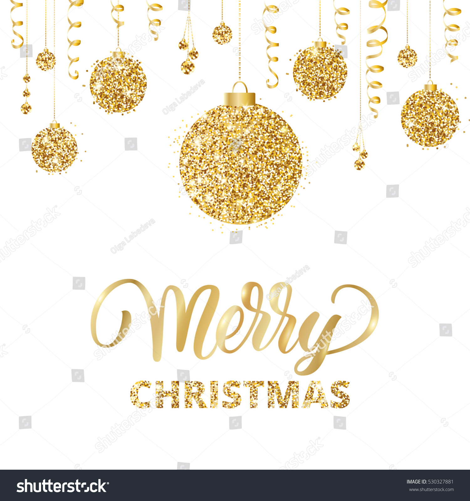 Merry Christmas Card Lettering Glitter Decoration Stock Vector ...