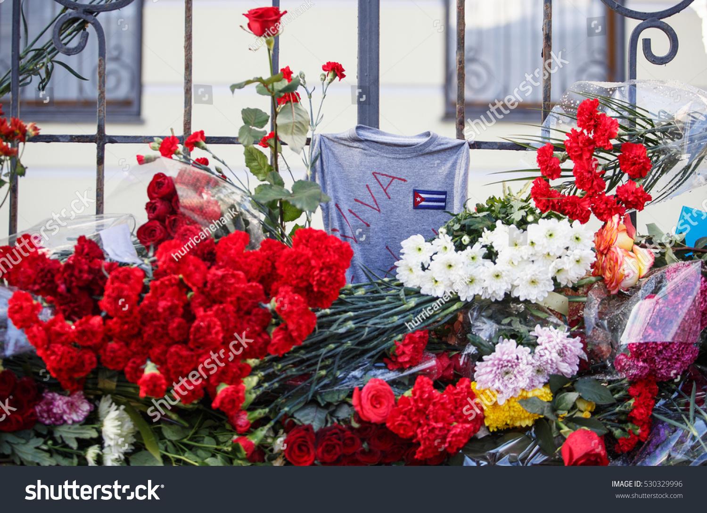 Moscow 27 November 2016 Memorial Flowers Embassy Stock Photo Edit