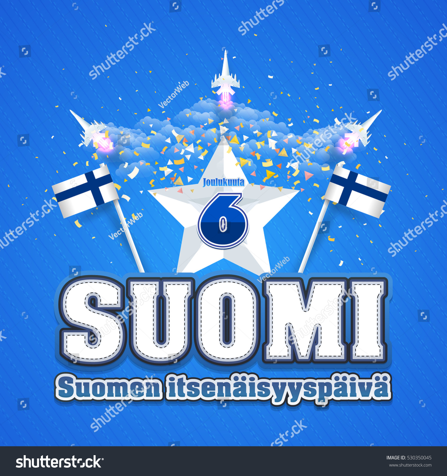 Jet Illustration Republic Finland Independence Day Stock Vector 530350045 - Shutterstock