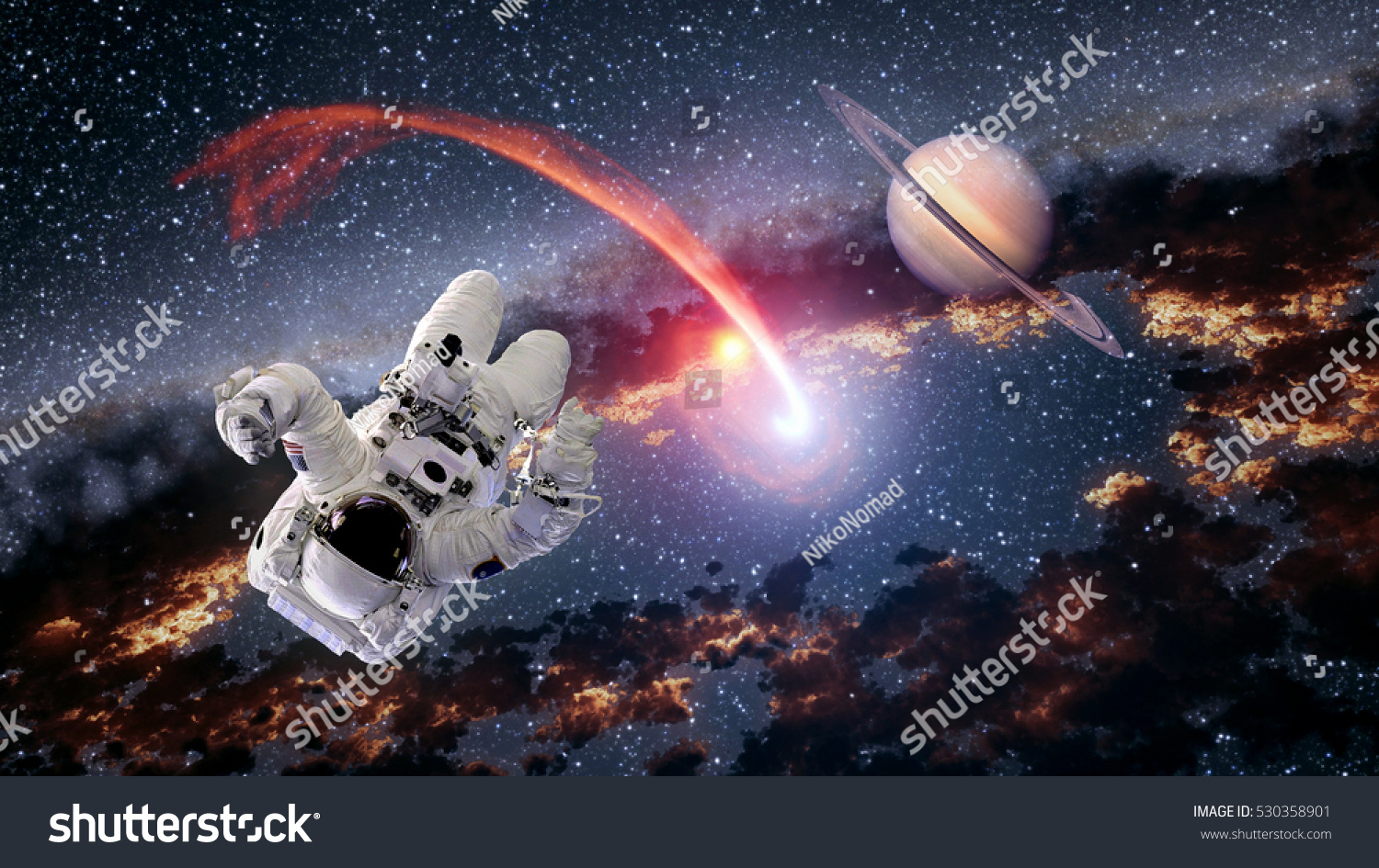 Astronaut planet saturn spaceman comet outer stock photo for Outer space elements