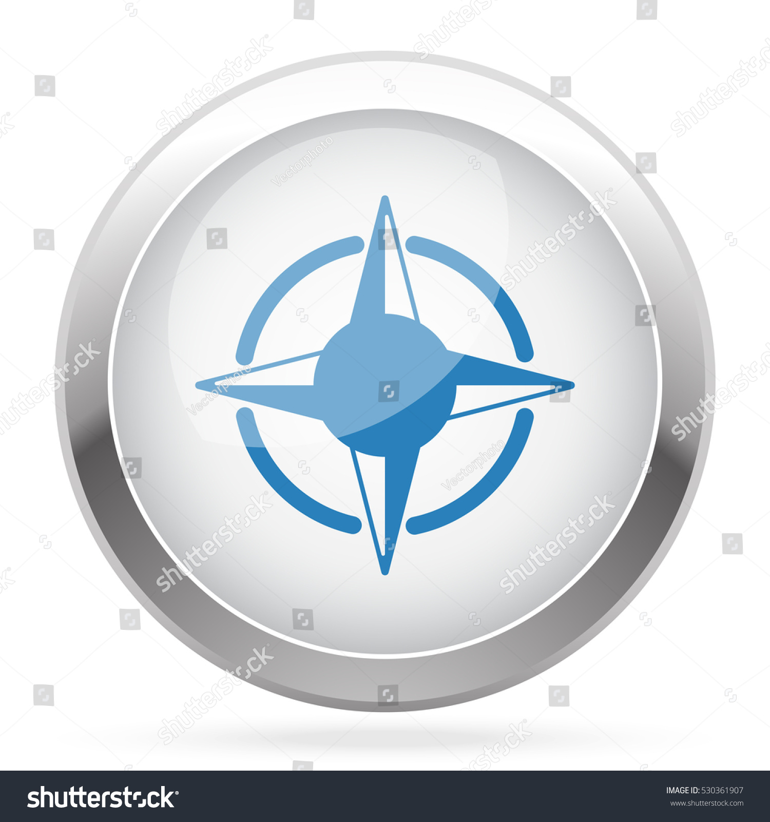 Blue Compass Rose Icon On White Stock Illustration 530361907