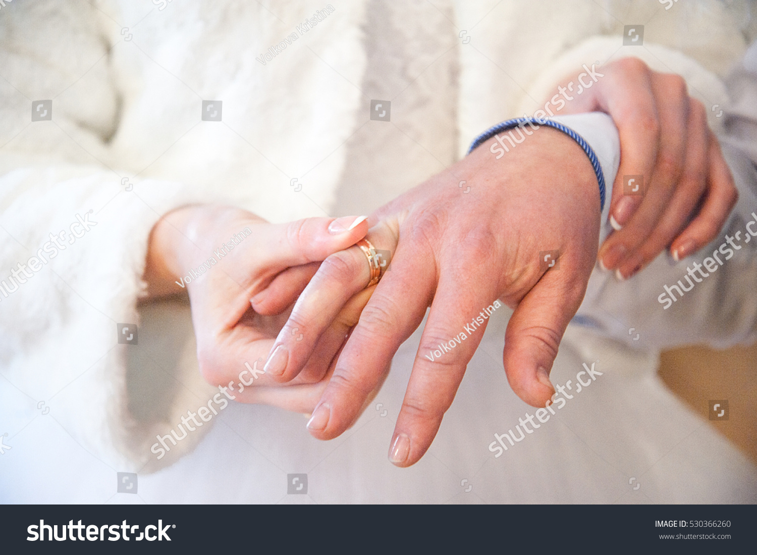 Brides Hand Fur Coat Grooms Hand Stock Photo (Download Now ...