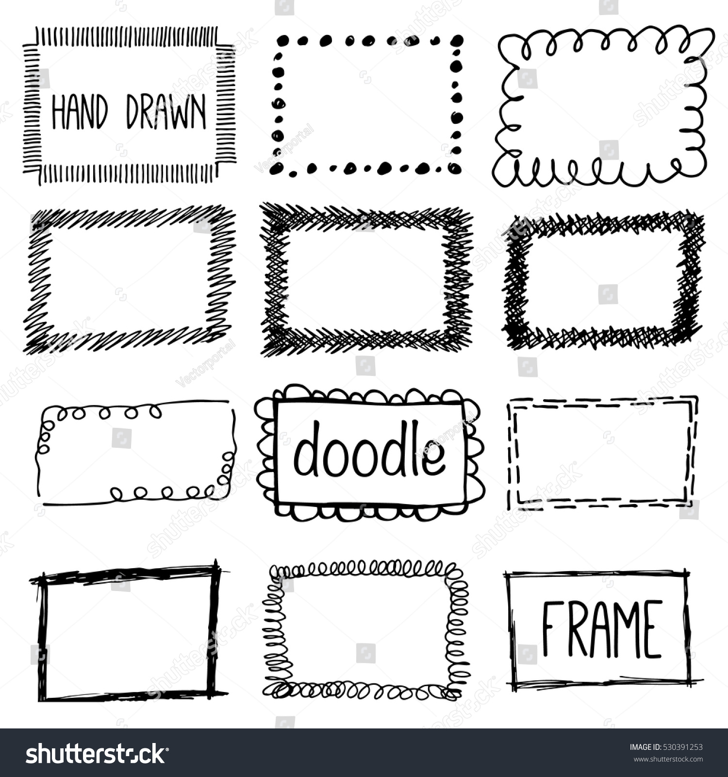 Hand Draw Pencil Frame Sketch Doodle Stock Vector (2018) 530391253 ...