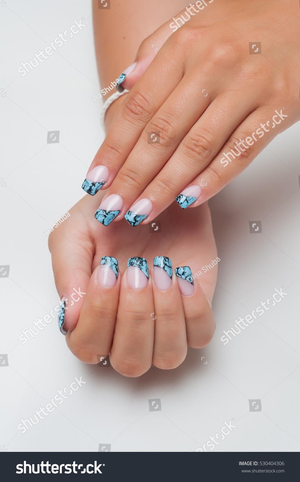 French Manicure Zolubym Cracelures Cracks On Stock Photo (Edit Now ...