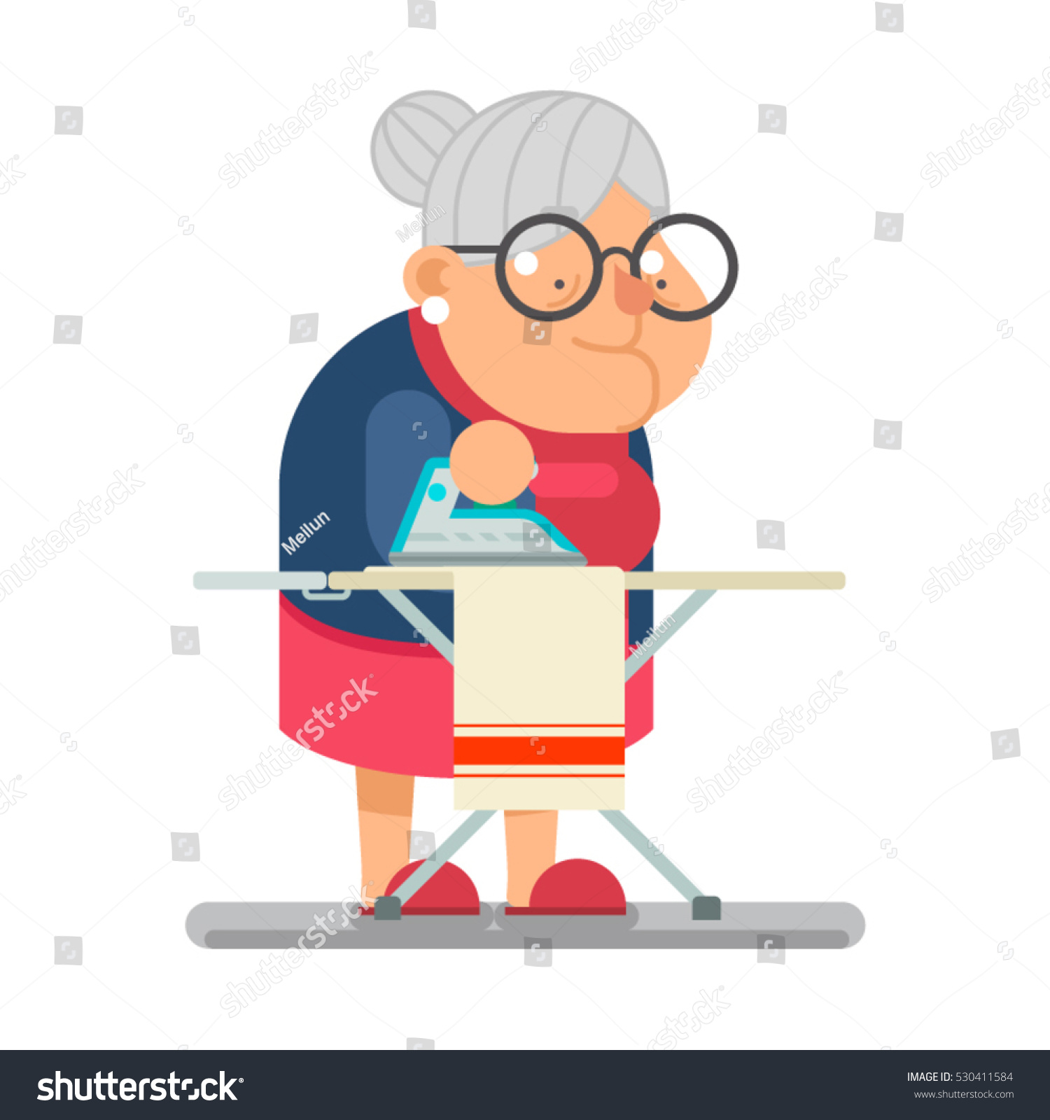 Cartoon Clothes Iron ~ Iron clothes household granny old lady stock vector