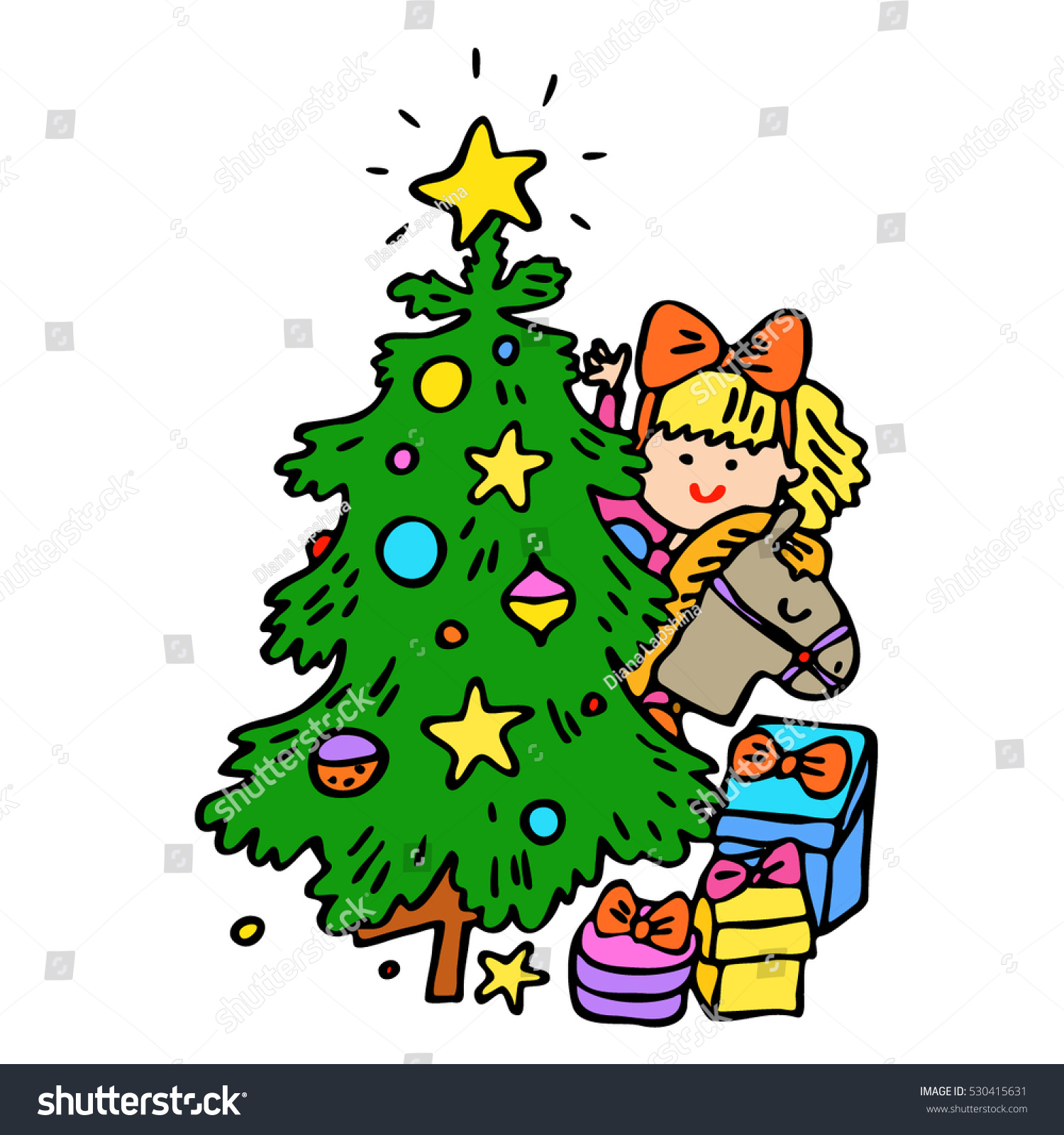 Christmas Toys Cartoon : Little girl red bows christmas tree stock vector