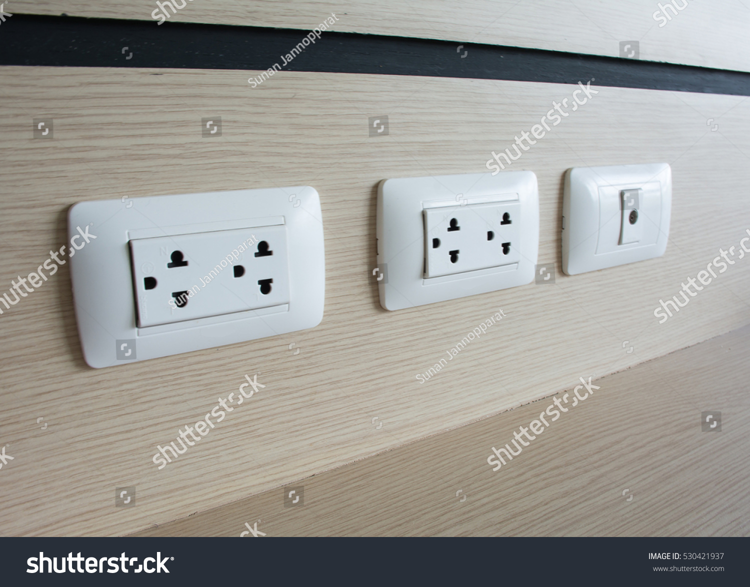 Close Picture White Plugs Socket Cable Stock Photo (Edit Now ...