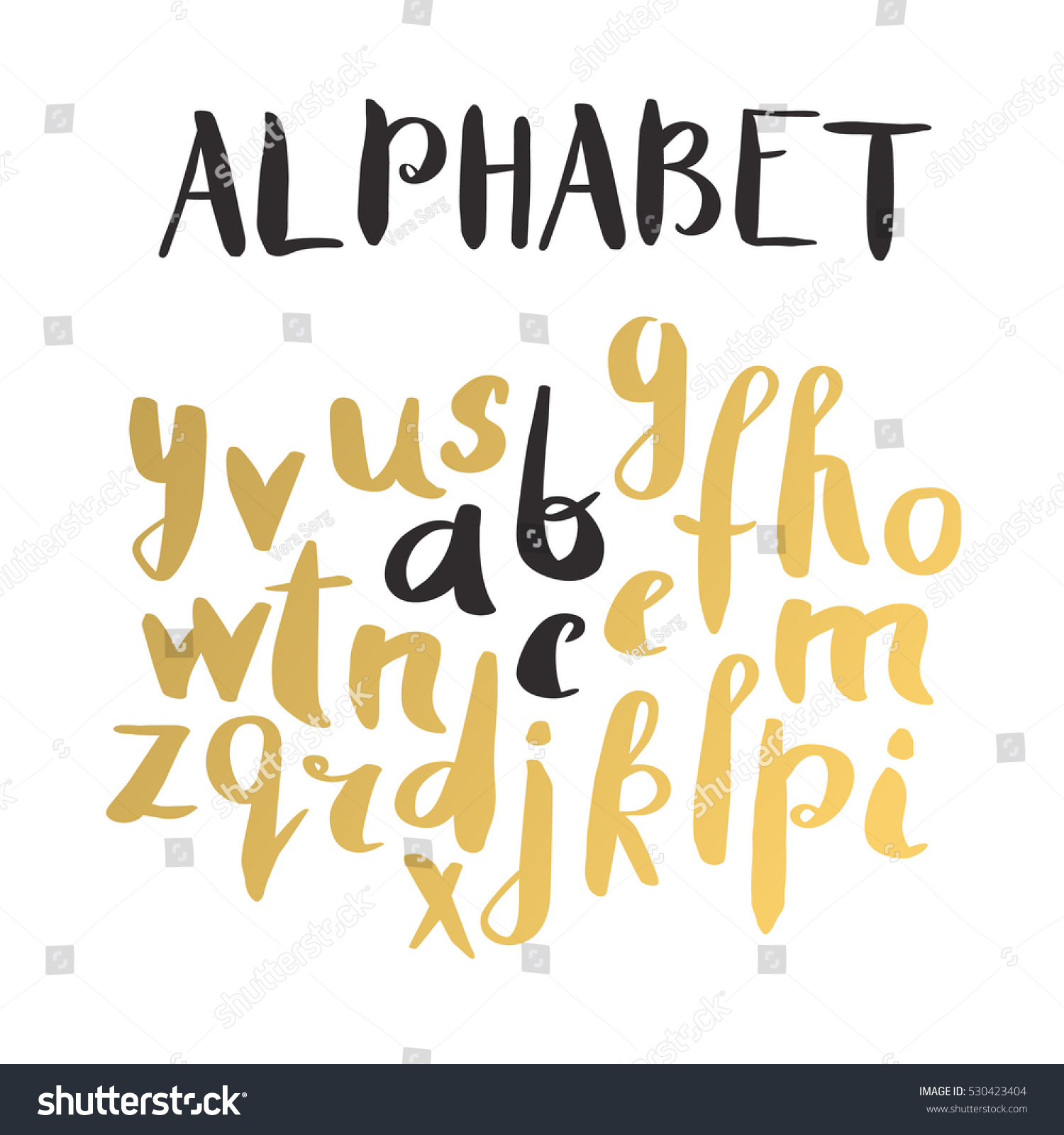 Female Gold Lettering Alphabet Hand Made Stock Vector