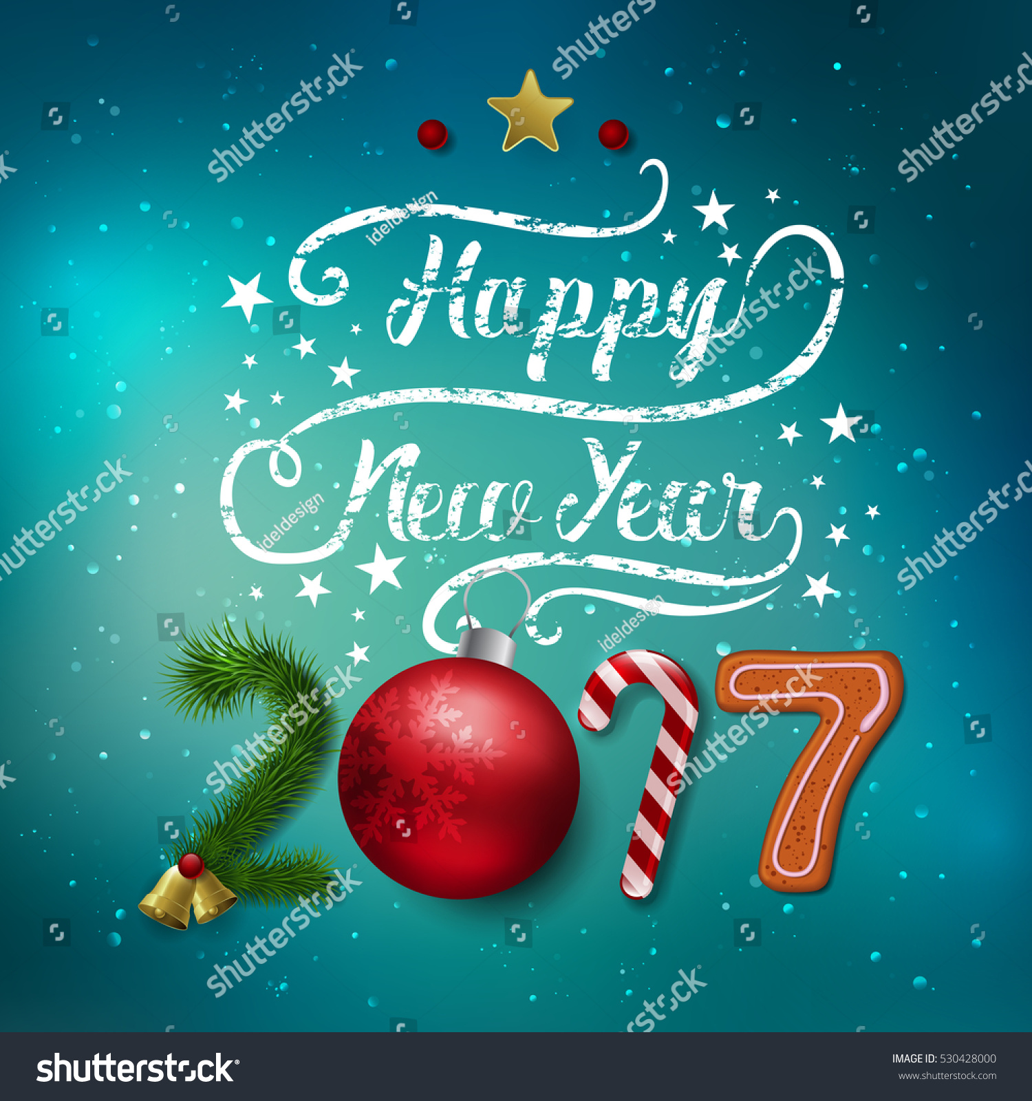 Vector merry christmas happy new year stock vector 530428000 vector merry christmas and happy new year 2017 greeting card label decorated with colored baubles kristyandbryce Images