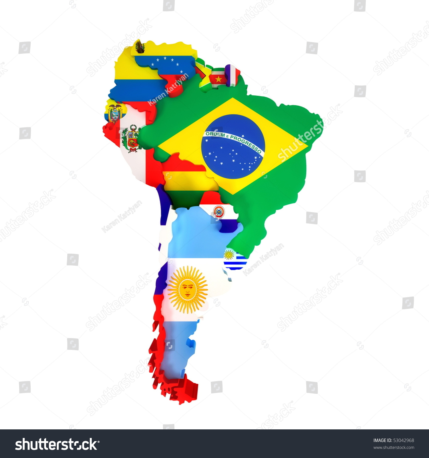South America Map Countries Capital Cities Stock Illustration
