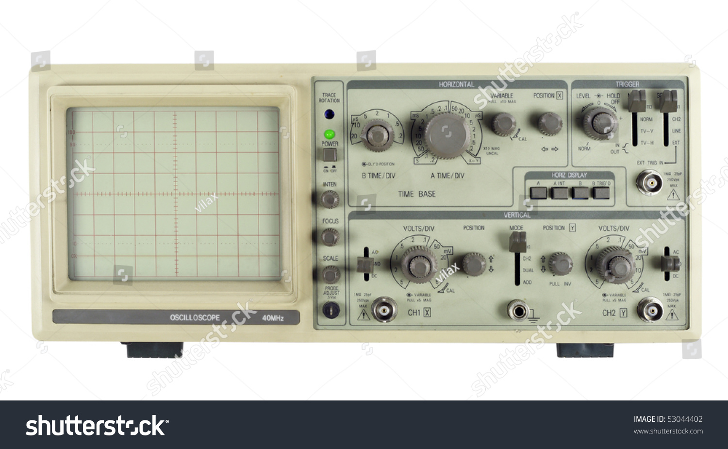Old Oscilloscope Screen : The old analogue measuring device oscilloscope isolated