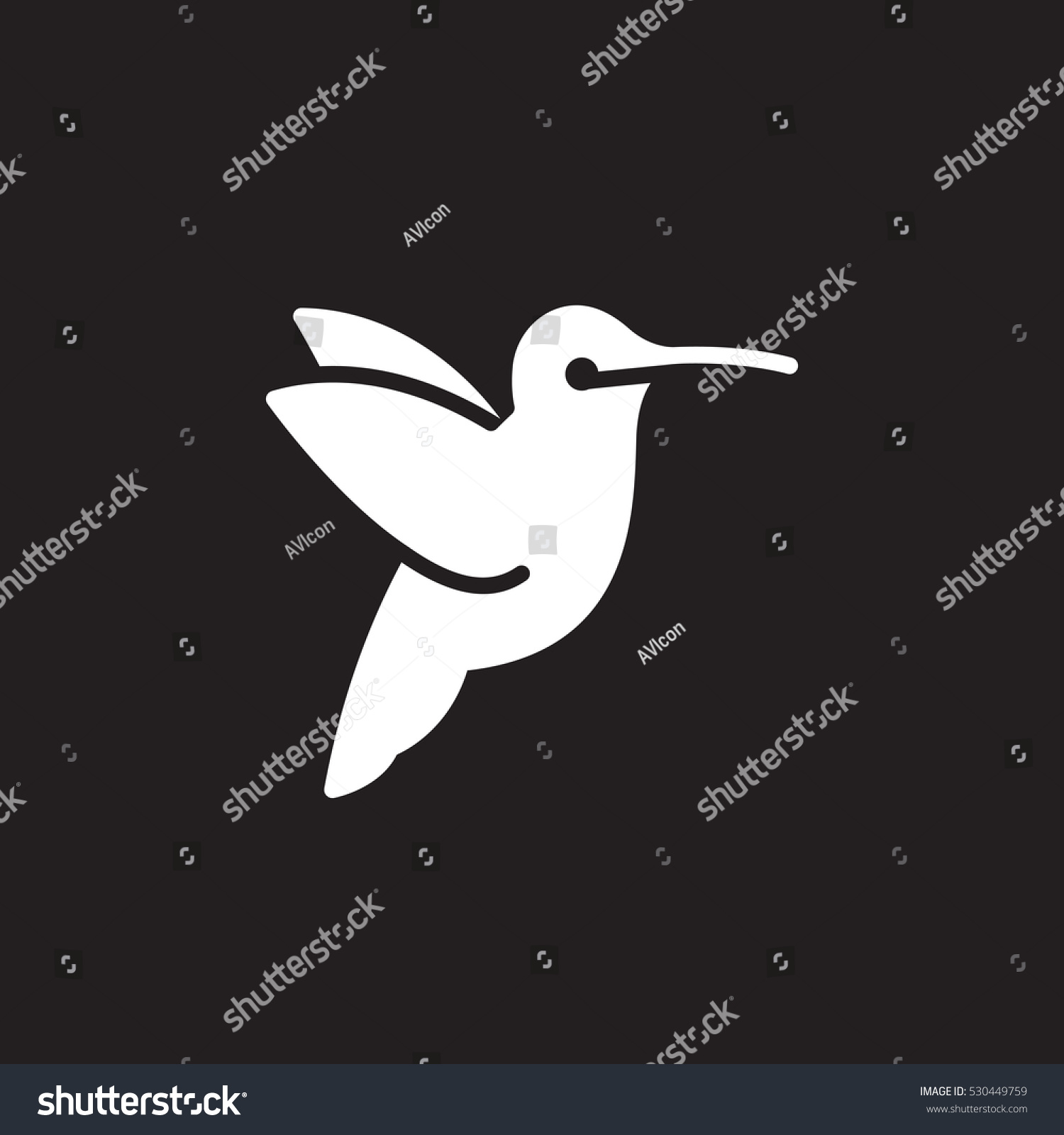 Hummingbird icon vector filled flat sign stock vector 530449759 hummingbird icon vector filled flat sign solid pictogram isolated on black symbol biocorpaavc Images