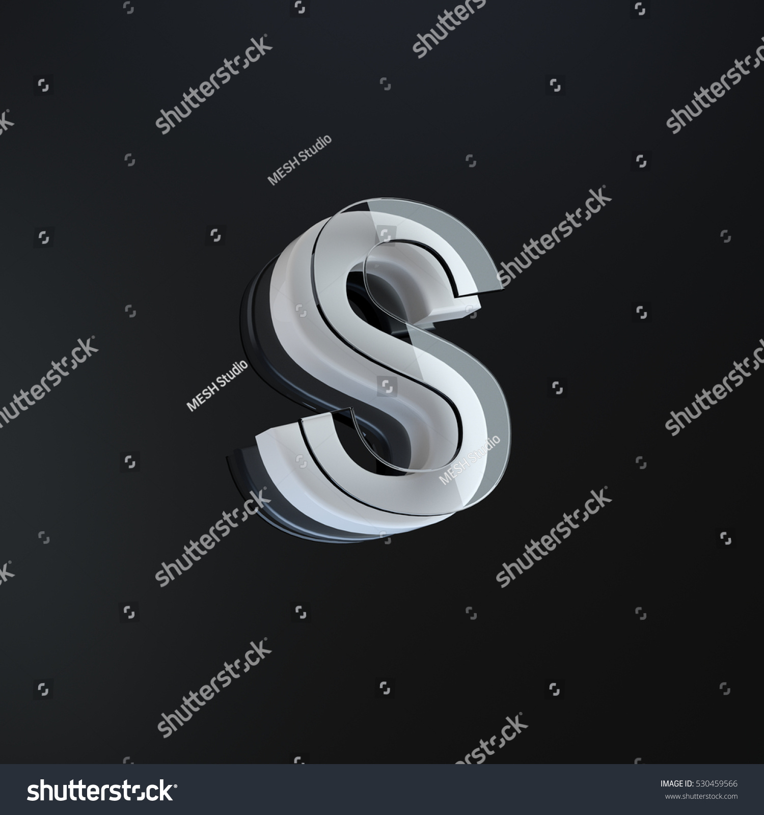 individual letter s part 3 d designed stock illustration 530459566