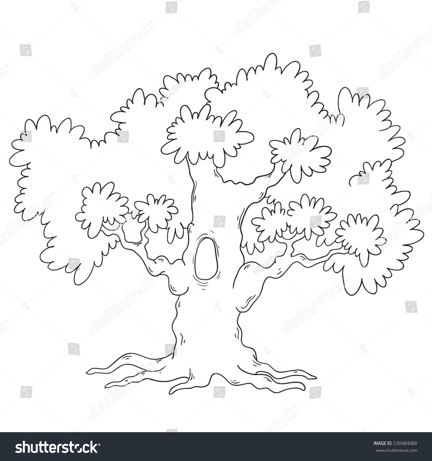 tree coloring book cartoon tree circuit stock vector 530484088 - Coloring Book Tree