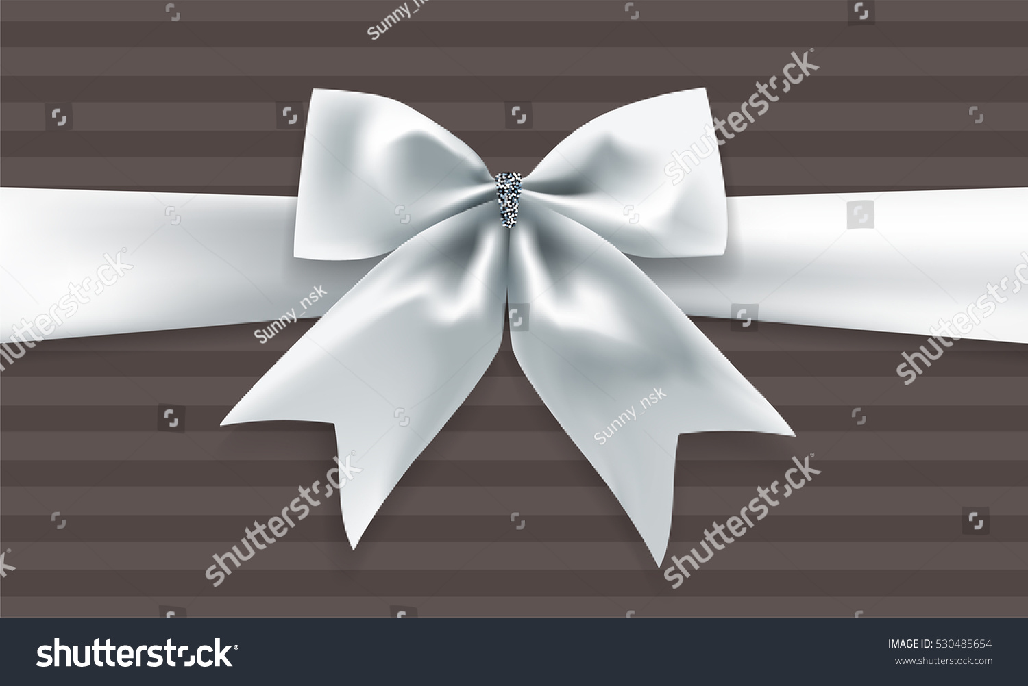 Red gift bows border with clipping path for easy background removing - Beautiful Silver Bow With Ribbon And Transparent Shadow On Brown Striped Background Vector Illustration Decorative Element