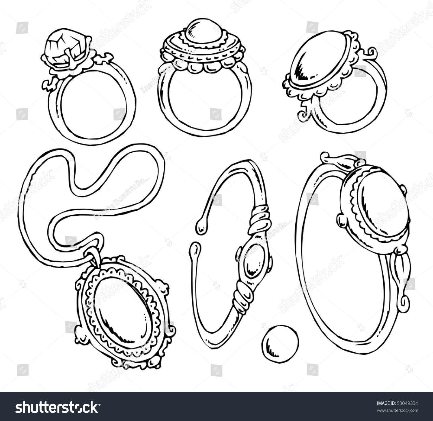Cartoon Jewelryclipart Stock Vector 53049334