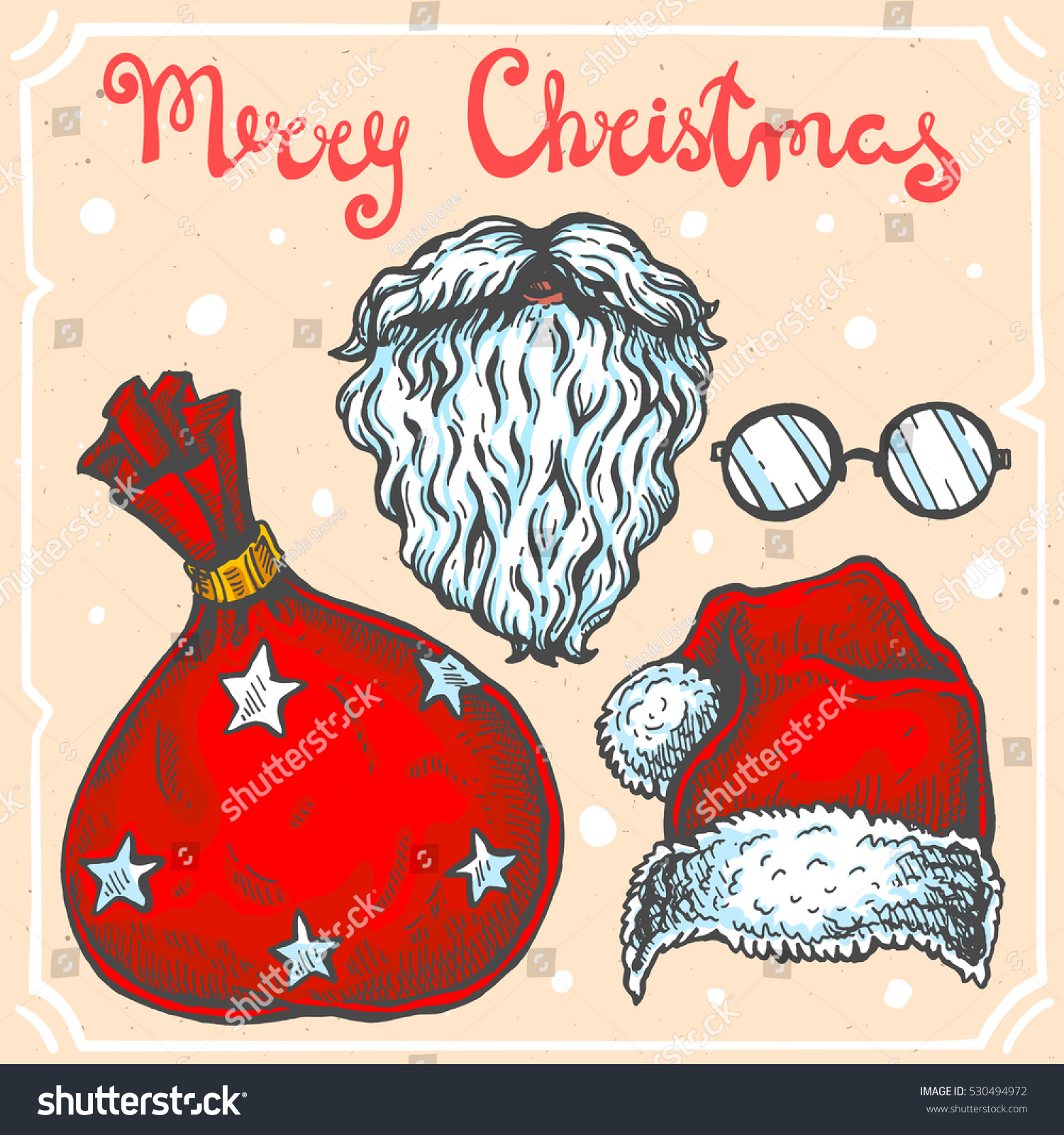 vector color illustration set santa claus stock vector 530494972