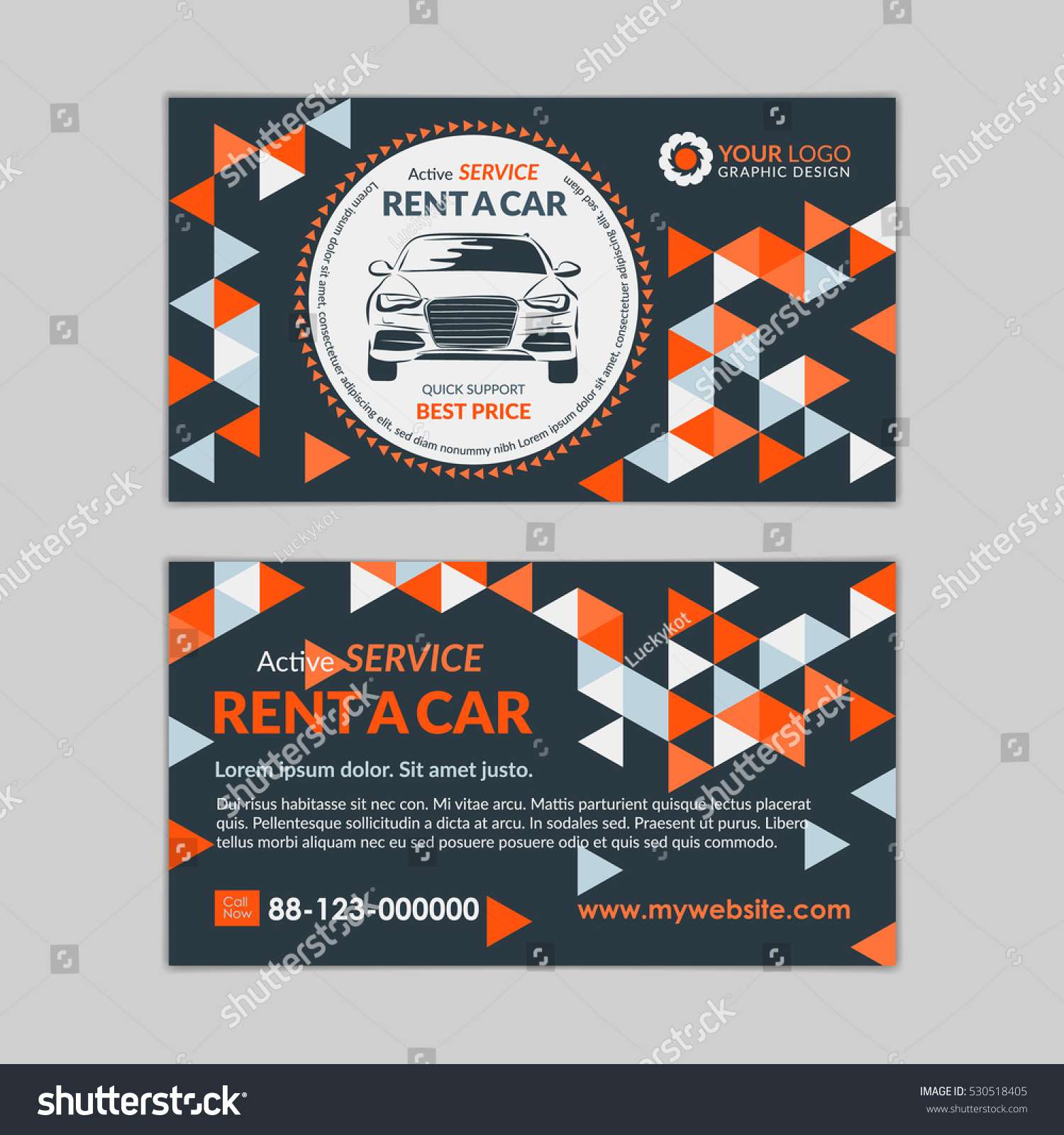 Rent Car Business Card Template Abstract Stock Vector