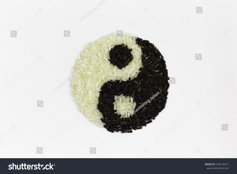 Yin Yang Asian Food On Wood Stock Photo & Image (Royalty-Free ...