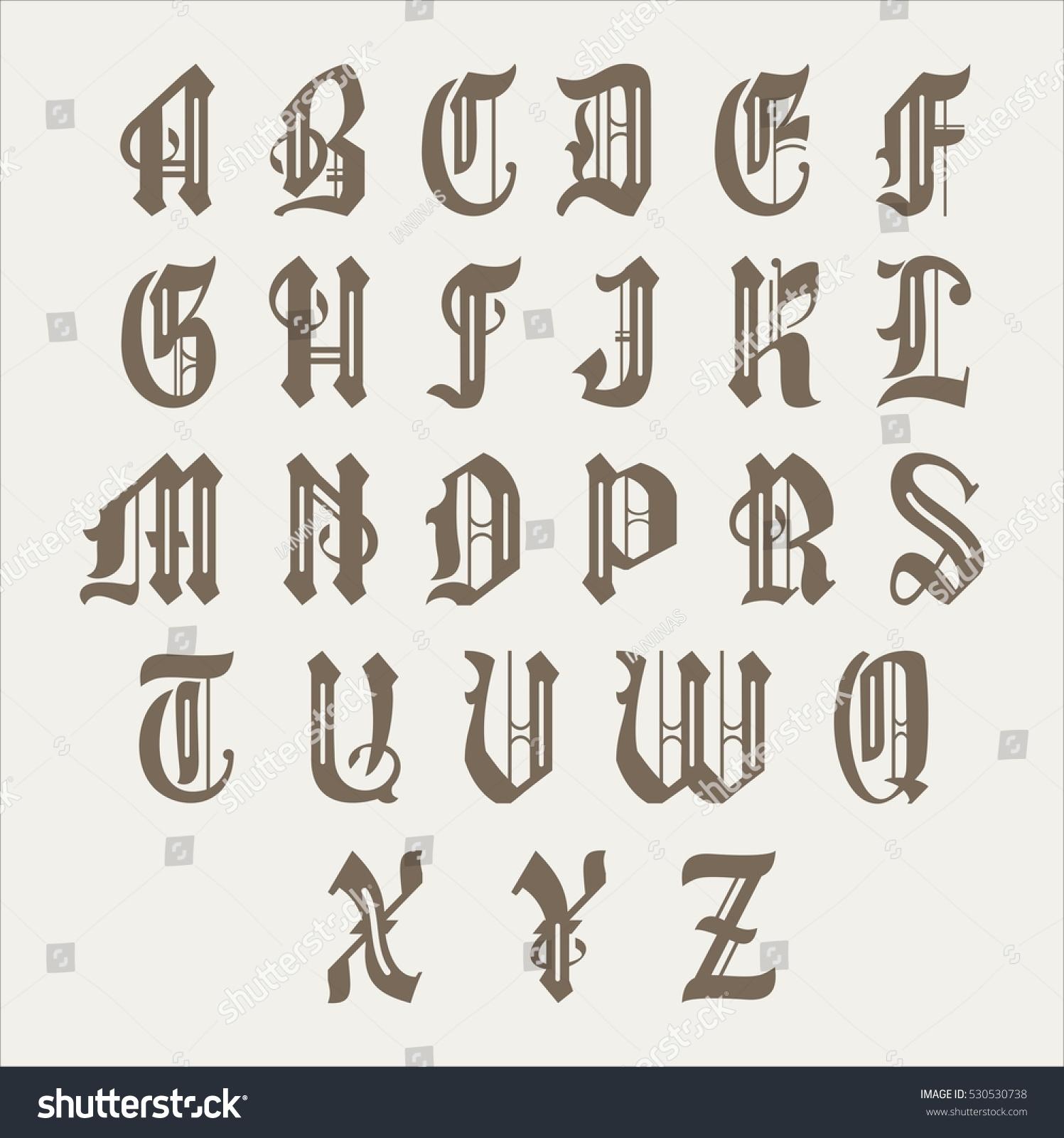 Gothic Font Alphabet Letter Vintage Calligraphy Stock Vector
