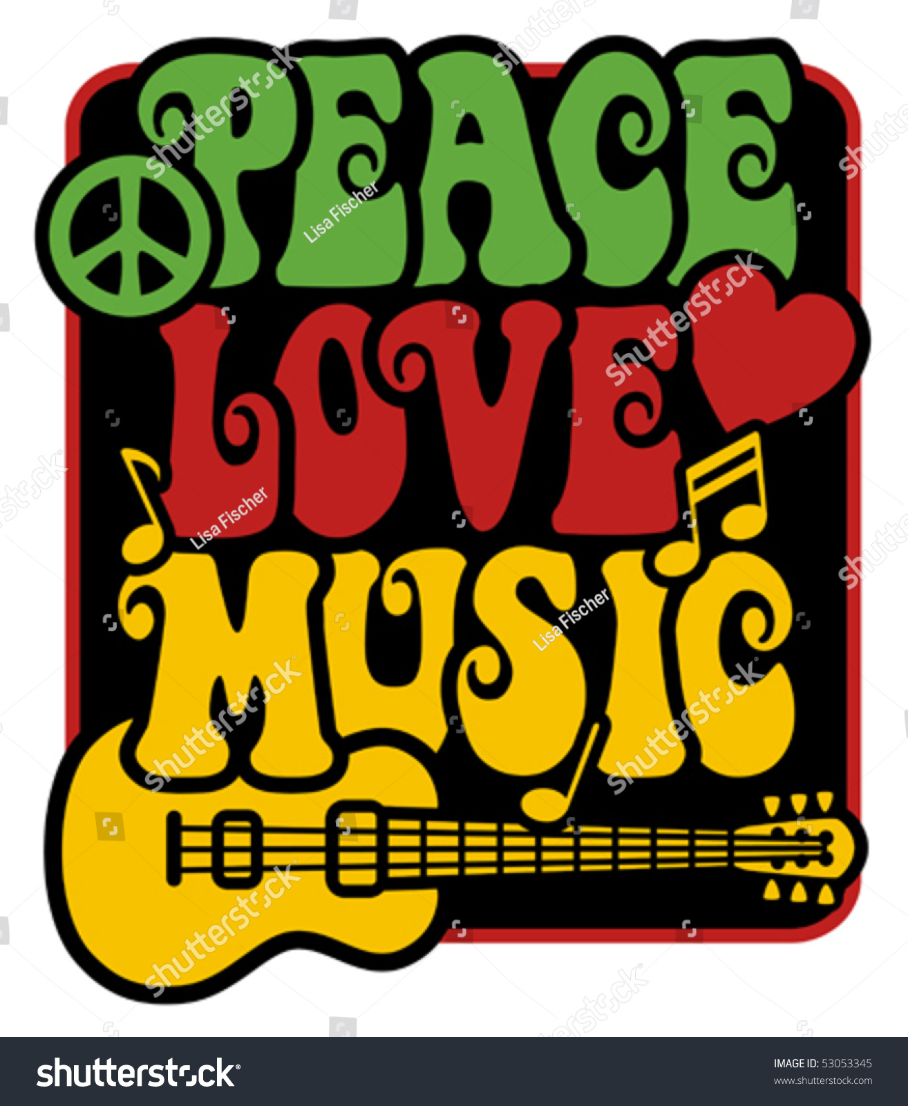 Reggaeinspired peace love music text design stock vector 53053345 reggae inspired peace love music text design with guitar peace symbol heart and biocorpaavc