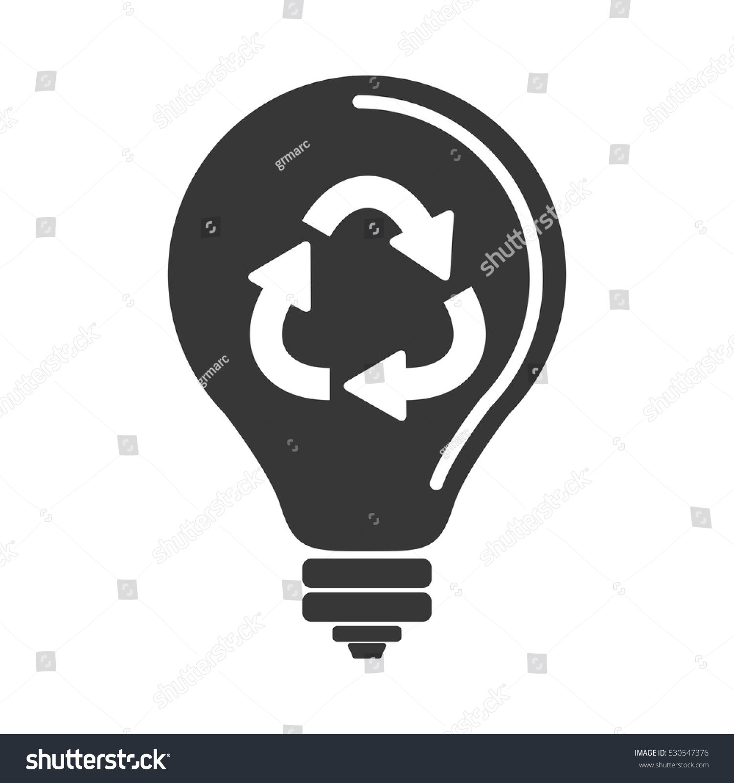 Silhouette Light Bulb Recycling Symbol Shape Stock Vector 530547376 ...