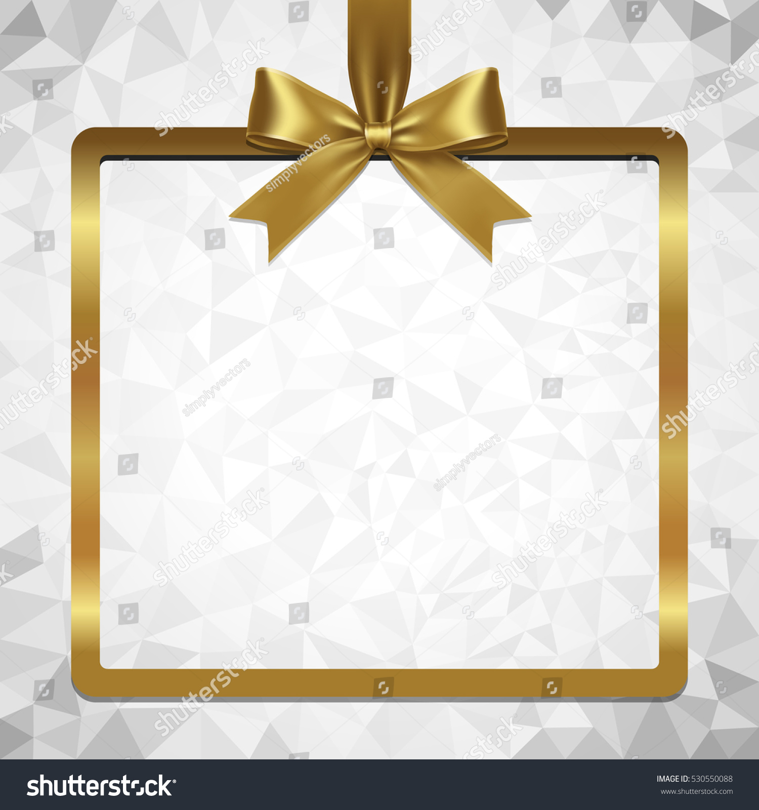 gold ribbon bow and hanged square frame vector with abstract polygonal background