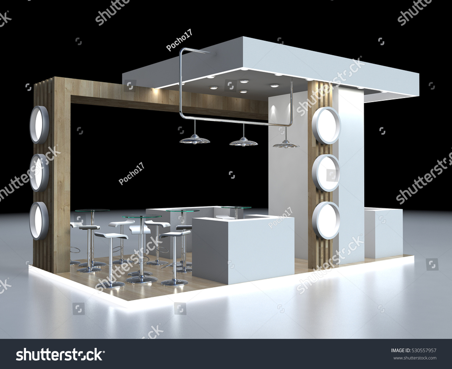 D Rendering Exhibition : Exhibition stand d rendering wood view stock illustration