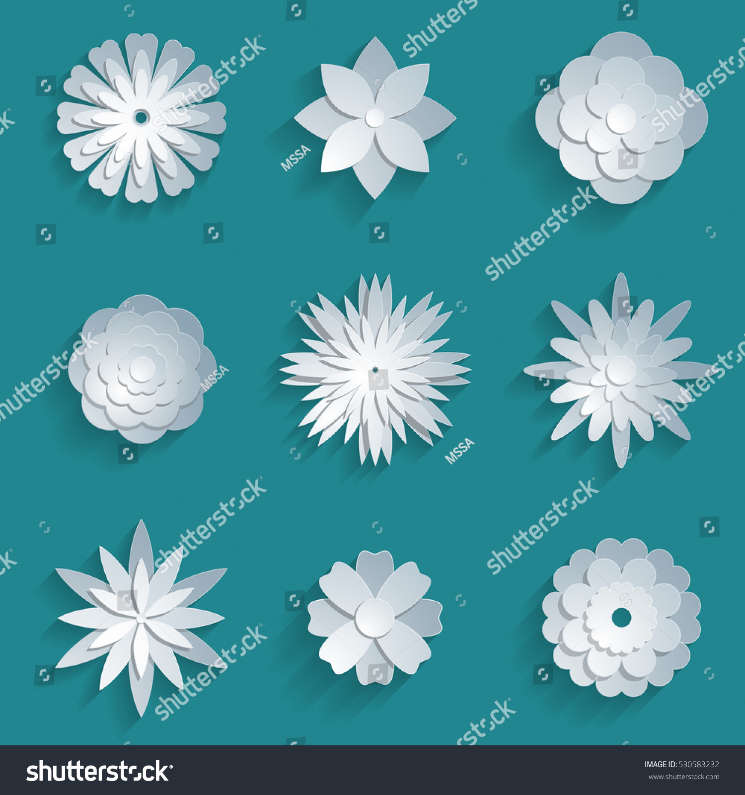 Vector Paper Flowers Set 3 D Origami Stock Vector Royalty Free
