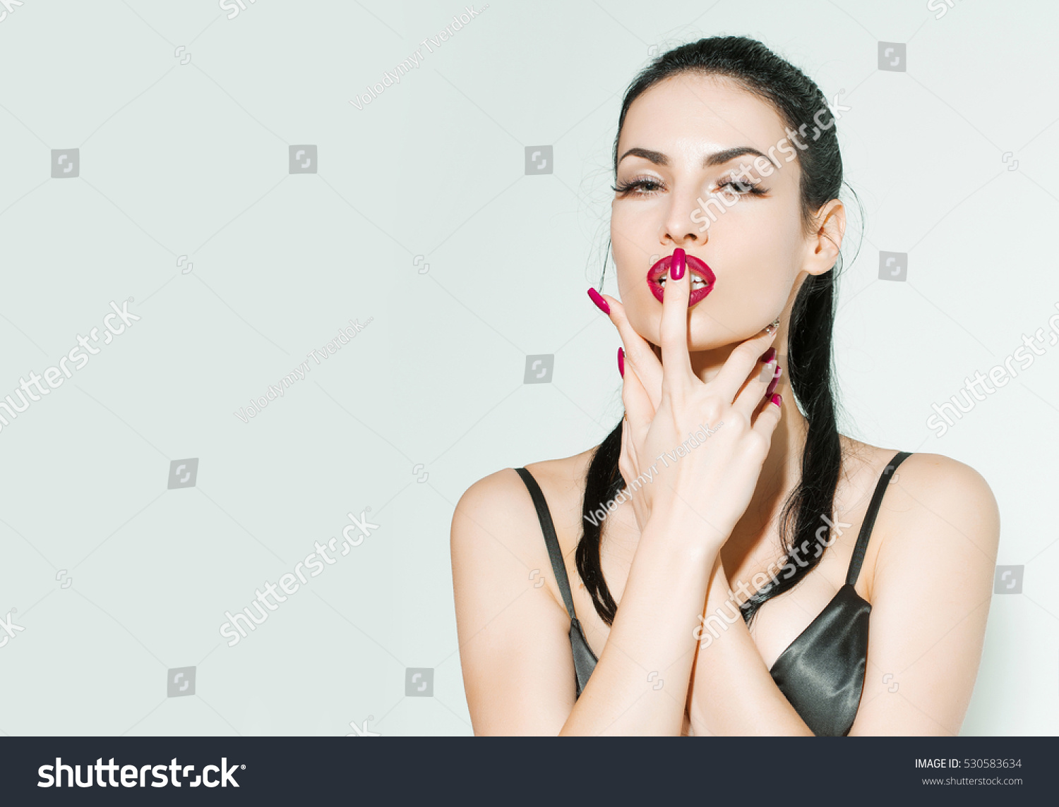 flirting pretty woman cute beautiful stock photo 530583634