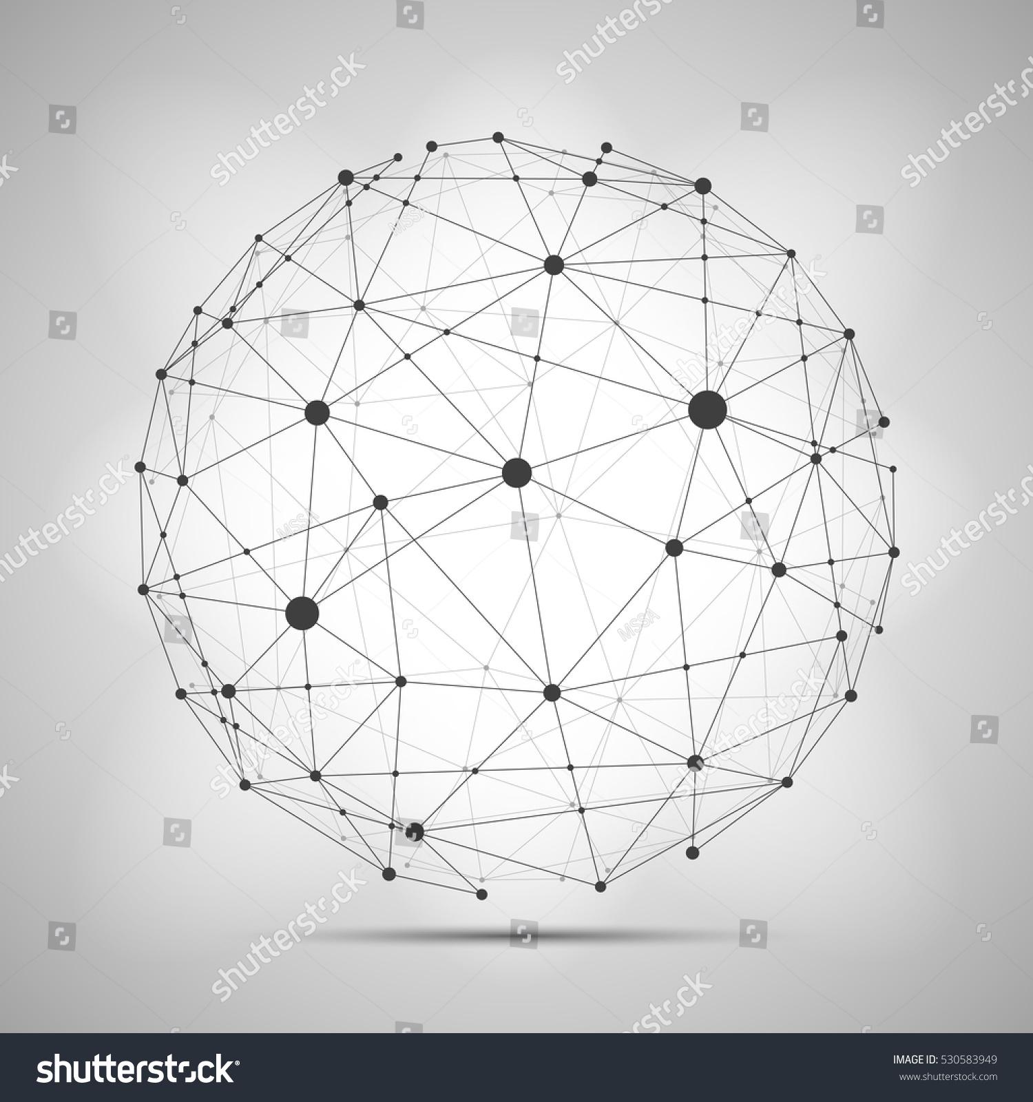 Line Art Vs Halftone : Vector wireframe connecting earth sphere globe stock