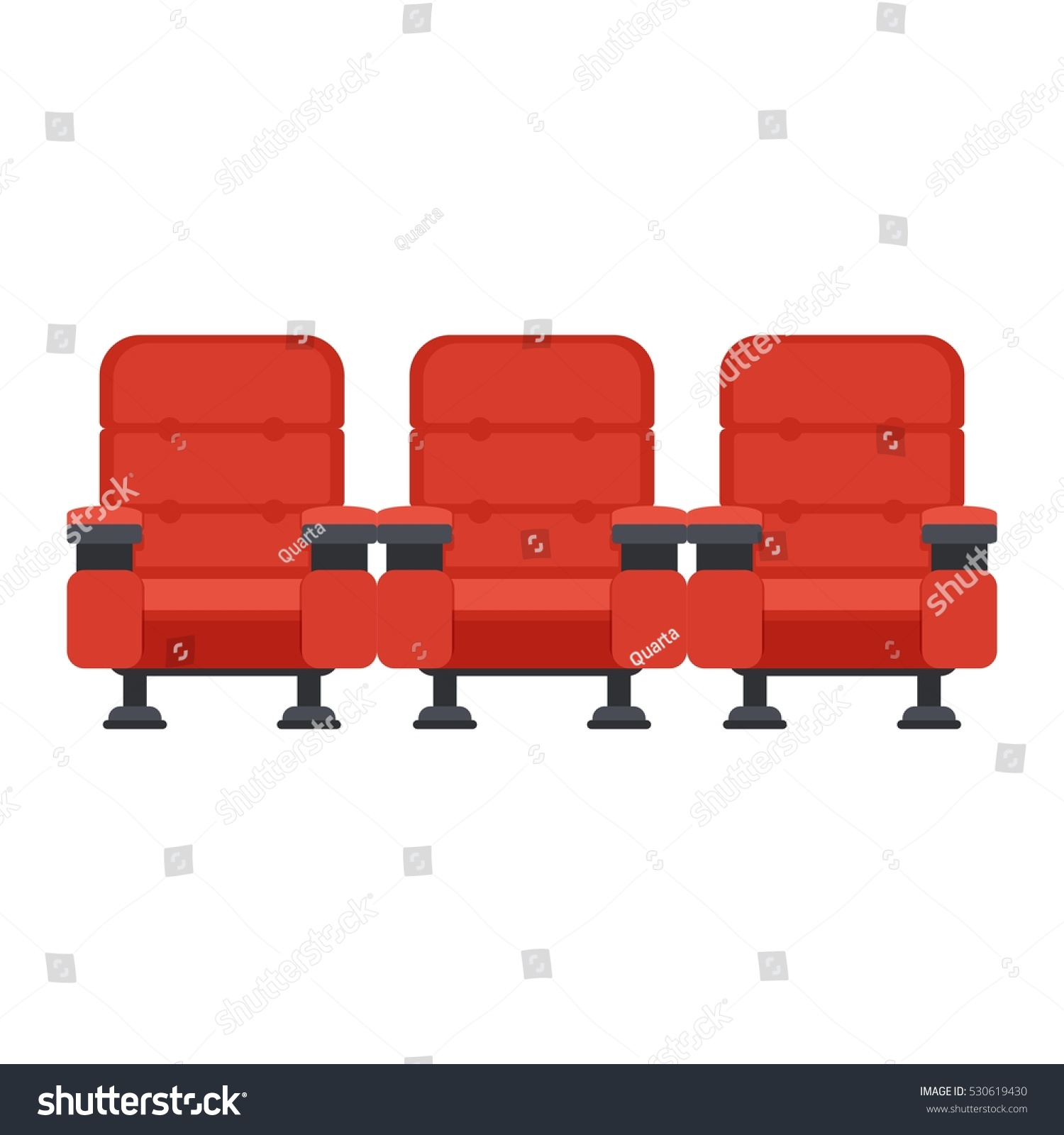 Auditorium Seats Movie Theater Flat Vector Stock Vector ...
