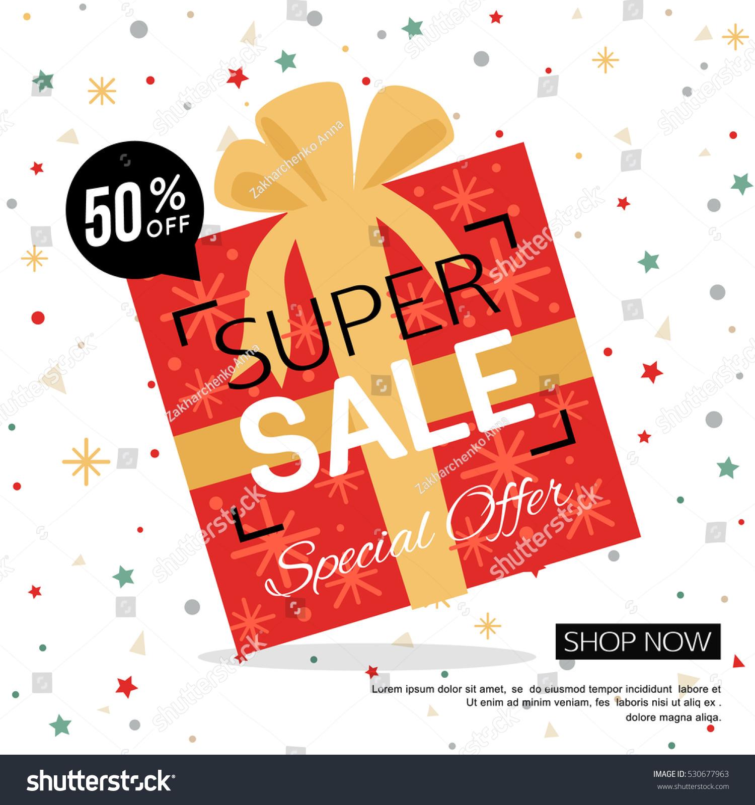 Christmas Gift Box Sale Banner Shop Stock Vector (Royalty Free ...