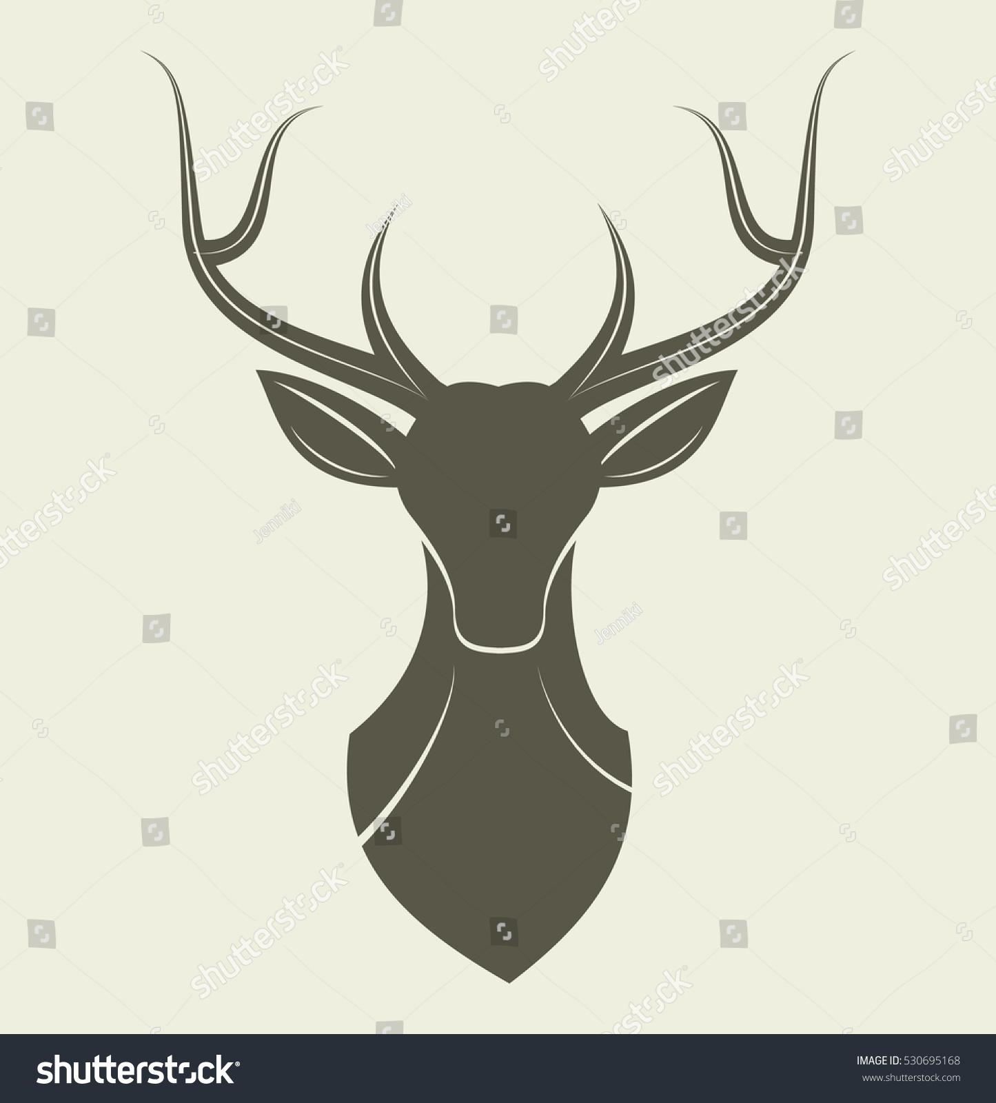 deer head reindeer animal design logo stock vector 530695168