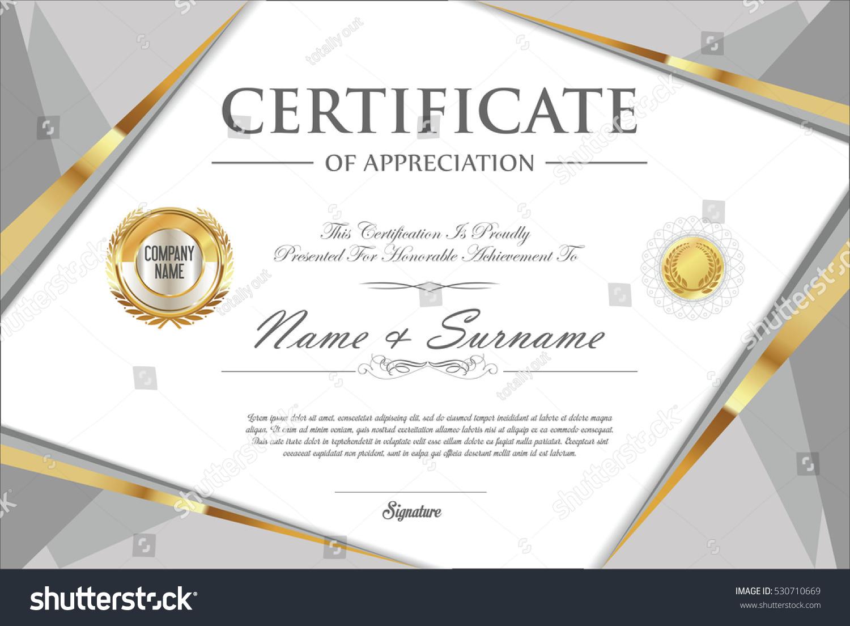 Certificate Retro Design Template Stock Vector 530710669 Shutterstock