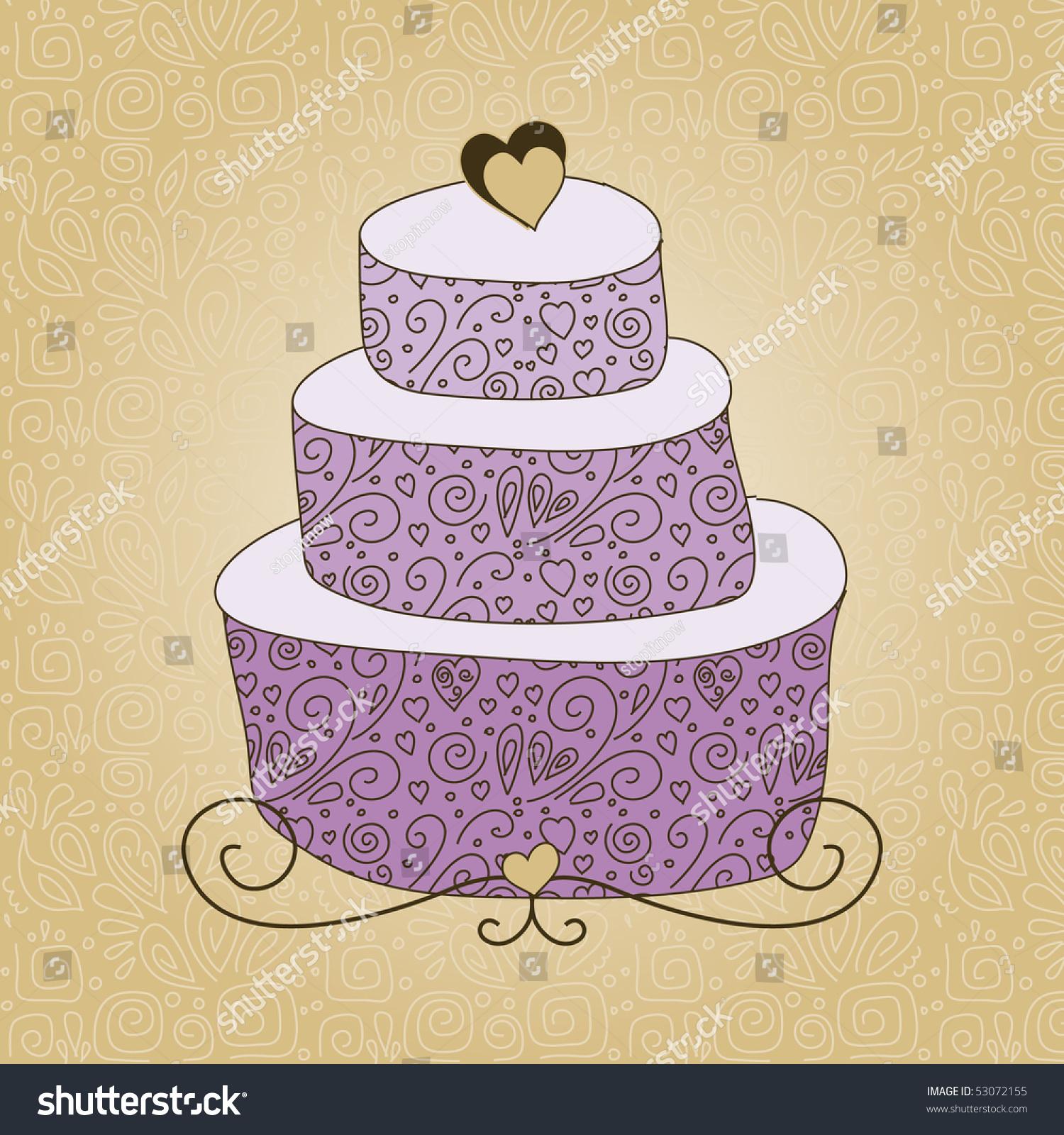 Big Violet Cake Stock Vector (Royalty Free) 53072155 - Shutterstock