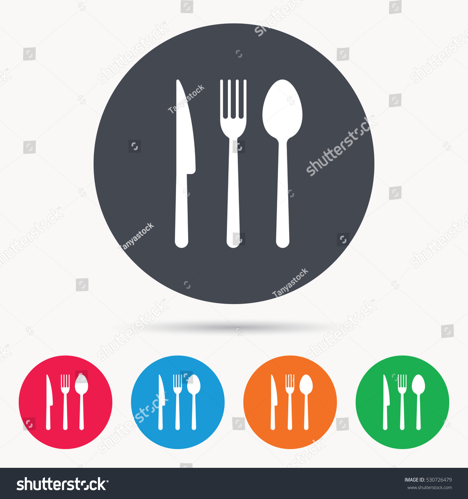 Fork Knife Spoon Icons Cutlery Symbol Stock Vector Royalty Free