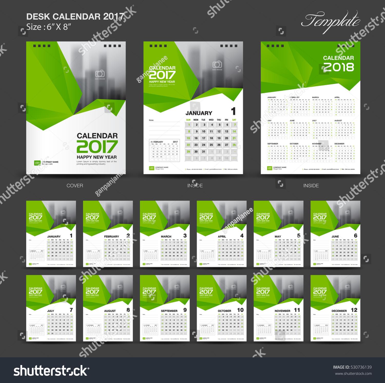 Year Calendar Desk : Set green desk calendar year stock vector