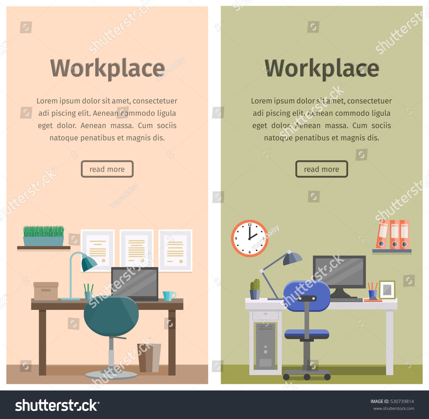 ... Graphic Design Business At Home Workspace Workplace Home Design Office  Interior Stock Vector ...