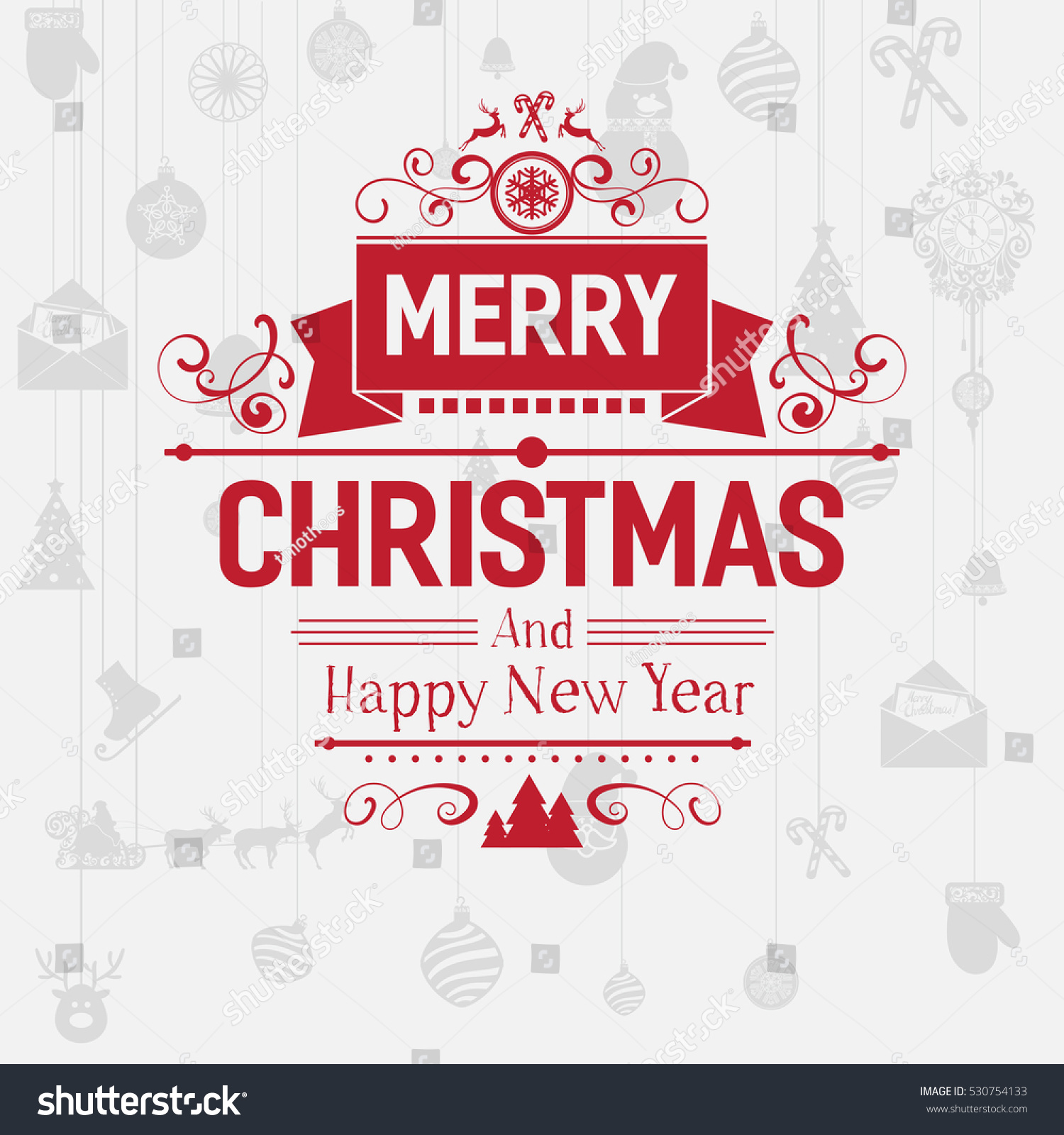 Modern Merry Christmas New Year Greetings Stock Vector Royalty Free