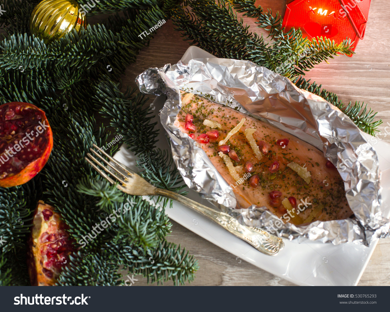 Christmas Recipe Salmon Trout Ginger Pomegranate Stock Photo Edit
