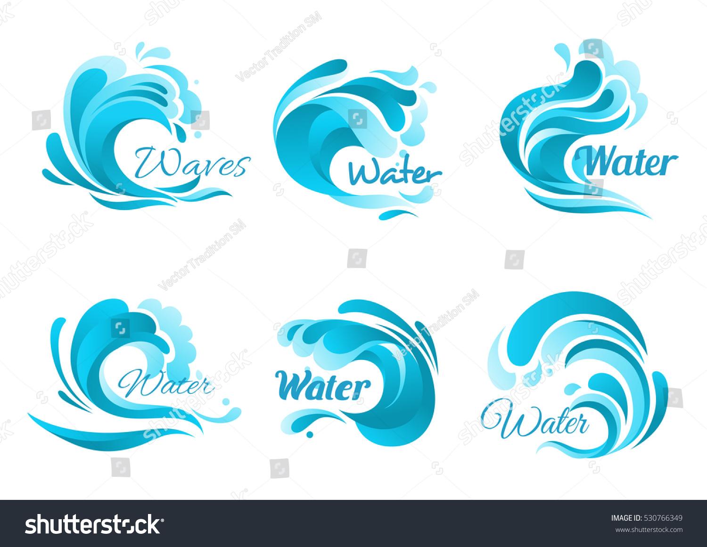 Waves Vector Isolated Icons Ocean Water Stock-vektorgrafik ...