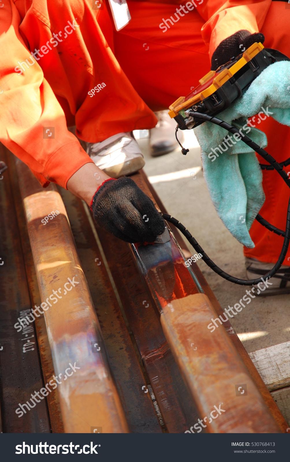 Worker Using Ultrasonic Rail Inspection Checking Stock Photo (Edit