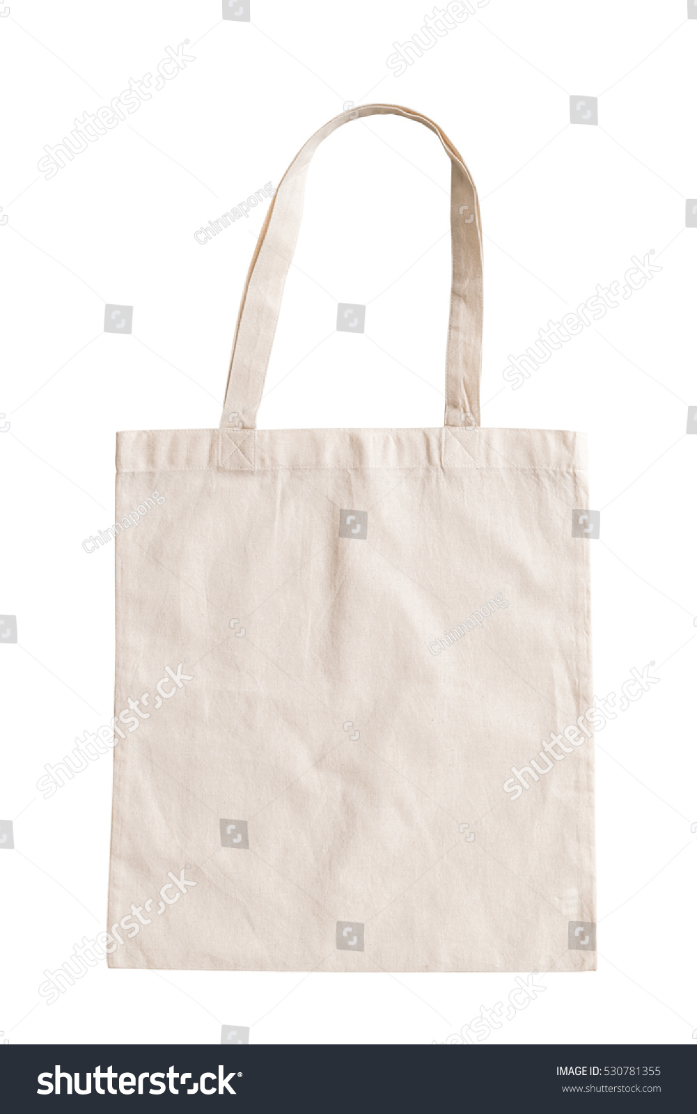 Tote bag canvas fabric cloth shopping sack mockup blank template isolated on white background (clipping path)